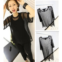 Free Shipping 2013 Fashion Female T-Shirt Hot-Selling Harajuku Style Gauze Women's Plus Size T-Shirt