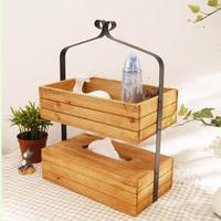 Retro finishing wooden tissue box cosmetics bedside storage sundries storage desktop storage