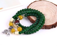 Bohemia style green natural stone crystal multilayer tiger beaded bracelet YY9009