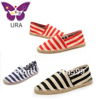 Free Shipping Dropship Hand-made Sneakers for Women Men Flat Zebra-Stripes Casual Flax Shoes Espadrilles Wholesale TS014