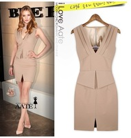 2013 europe american fashion trend slim waist sleeveless V neck one piece dress street star same style OL dress