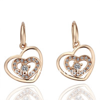 Freeshioping ( Min.Order Is $10 ) 2013 Fashion18K gold plate earring hot sale Crystal exquisite earrings for women E041