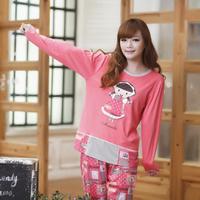 2014 autumn spring knitted cotton long-sleeve sleepwear sweet cartoon women's lounge