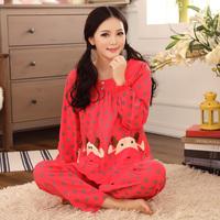 Bird 2014 spring and autumn women's long-sleeve sleepwear female 100% cotton sleepwear dot cartoon lounge set