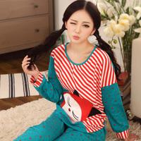 Bird budaoweng women's spring and autumn long-sleeve sleepwear female cotton stripe cartoon sleepwear lounge set