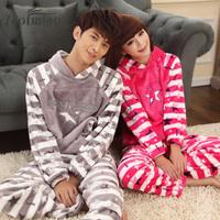 Bird stripe flannel sleepwear thickening winter lovers sleepwear lounge set male women's