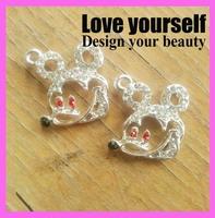 40pcs/lot Silver Mickey mouse pendant beautiful animal charm with crystal rhinestone