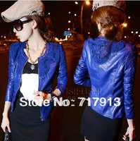 2014 Electrooptical Stunning Blue Red Crochet Lace Patchwork Slim PU Water Washed Leather Clothing Female Short Jacket