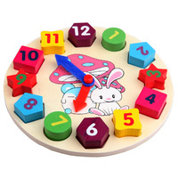 Min Order $20 (mixed order) Cheap Wooden toy Digital Geometry Clock Children's educational toy building blocks (KH-19)