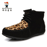 2013 Fashion female child boots little girls sneakers snow children boots leopard print girls shoes leather baby boy shoes