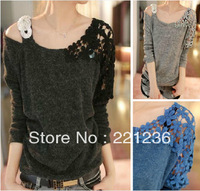 Free shipping Women's 2013 autumn lace crochet cutout one shoulder spaghetti strap type sweater top