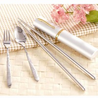 Home supplies eco-friendly stainless steel tableware piece set portable retractable chopsticks oeqs