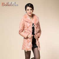 Free shipping 2013 winter large fox fur coat slim medium-long down women's leather clothing fur coat