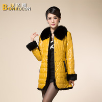 Free shipping 2013 mink hair overlock fox fur slim medium-long down coat fashion nvchen leather clothing outerwear