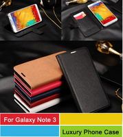 Galaxy Note 3 Luxury Leather Case,Top Quality Cross Pattern PU Leather Wallet Flip Case For 6 Color 30pcs/l