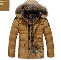 2013 new winter autumn -summer outdoor men down jacket parka brand white duck thickening plus big size fur hooded army green