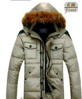 2013 new winter autumn -summer outdoor men down jacket parka brand casual with a hood plus big size thickening slim