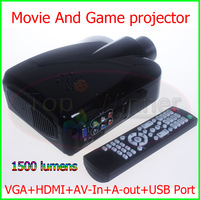 New Arrival- Portable LED Projector 1500 Lumen With VGA+HDMI+AV-In+USB Port High Quality Projector Free Shipping!
