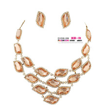 Neoglory accessories the bride accessories marriage wedding champagne color crystal chain sets set