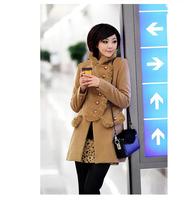 Slim women new women's winter wool coat fur collar long coat thick mink cashmere coat, cold snow wear jacket long coat women,