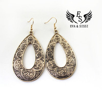 Free Shipping Fashion Vintage Drop Earrings Print of Golden Earrings Water Drop Earrings ES-043