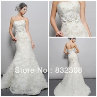 BL025 Free Shipping Flowers Crystals Lace Wedding Gowns Spanish Style Wedding Dresses