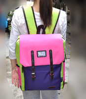 Canvas casual backpack bag female bags female backpack color block 2013 school bag exception man bag
