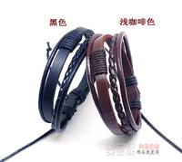 New arrival Vintage punk Multilayer hemp Braid genuine Leather Bracelets lovers stylish free shipping 20pcs/lot