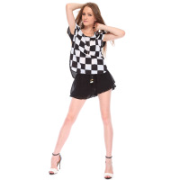 Summer new arrival 2013 hot-selling fashion sexy unique black and white palid checkerboard pattern women's short-sleeve T-shirt