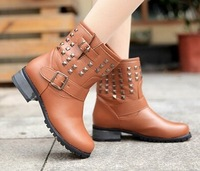 Fashion punk rivet platform boots motorcycle martin boots fashion woman's  boots size 35-39