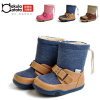 2012 ploughboys child denim blue cotton boots slip-resistant boots warm boots 1104-dh024