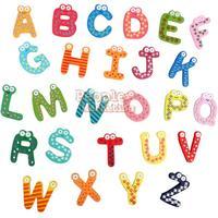 Cute 26 Pcs Teaching Alphabets Fridge Magnet Magnetic Wall Letters Stickers P4PM