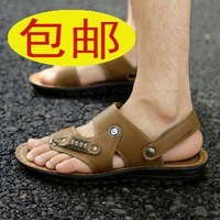 Trend 2013 men's slippers leather sandals male flip-flop sandals male sandals men's dual sandals