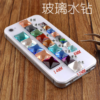 Multicolour glass rhinestone square luo dan falt bottom rhinestone mobile phone rhinestone pasted diy cell phone rhinestone