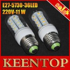 220V 4Pcs/Lot Indoor Use,Corn Bulbs  E27 5730 36LEDs Lamps 5730 SMD 11W,Warm White/White Energy Efficient(China (Mainland))