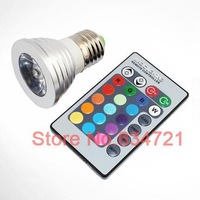 5pcs/Lot 3W E27 GU10 Remote Control 16 Colors Switch LED RGB Spotlights  Free Shipping