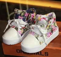 2013 child single shoes /high female child flower canvas shoes / skateboarding princess shoes
