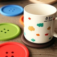 Free shipping 10pcs/lot Cute Button Cup Mats multicolor silicone double face coasters