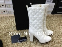 2013 Winter designer brand new fashion boots for women, black white quilted genuine leather rivets rhinestones knee-high boots