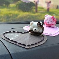 Auto supplies bear doll car love slip-resistant pad three-dimensional heart car mat