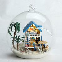 Mini Aegean Sea!Hand-made DIY wood doll house toys,Assembling Model, cutedall room,Glass Ball dollhouse - TOYS & GIFTS!