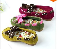 Hot Selling 1Pair Polka Dot Bow Non-Slip Sole Cute Suede Shoes Children Kids Princess Shoes Girl Shoes