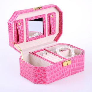 Free shipping Jewelry box leather jewelry box princess fashion dressing married birthday gift(China (Mainland))