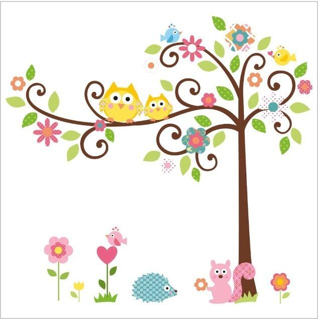 High quality!Free shipping Cute Owl Tree Peel & Stick Wall Decal Kindergarten DIY Art Vinyl Wall Stickers Decor Mural