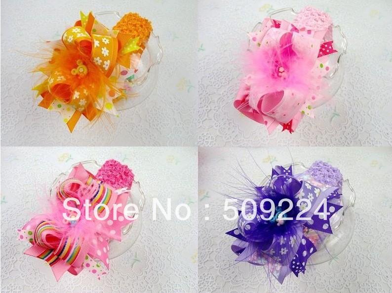 5 baby girl toddler boutique mixed hair bows clip 5 crochet headbands(China (Mainland))