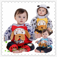 Free shipping New 2013 autumn winter models FOLDER COTTON baby cartoon set Boys girls children's clothing puppy