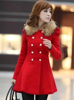 New winter women woolen jacket Slim wool collar winter woolen coat Slim double-breasted, snow wear warm fashion classic