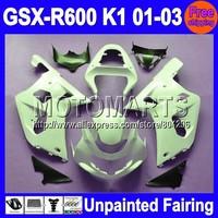 7gifts Unpainted Full Fairing Kit For SUZUKI GSX-R600 01-03 GSXR600 GSXR 600 GSX R600 K1 01 02 03 2001 2002 2003 Fairings