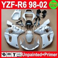 7gifts Unpainted+Primer Fairing For YAMAHA YZF-R6 YZFR6 YZF600 YZF R6 600 98 99 00 01 02 1998 1999 2000 2001 2002 Fairings
