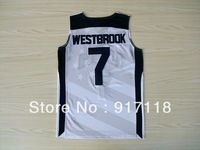 Free Shipping,Basketball Jersey,USA 2012 Olympic Games #7 Russell Westbrook Jersey,Embroidery logos,Size 44-54,Accept Mix Order